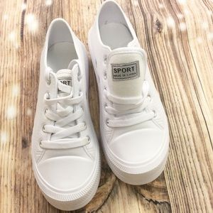 SPORT All White Plastic Low Rise Tennis Shoes